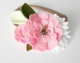 NEW Wool felt floral Crown headband- one size fits all- Baby Pink felt flower headband, White wool felt flower headband, Infant headband,