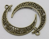 Crescent Moon Charms Antique Bronze Filigree Dangle Connector 40 x 33 mm U.S Seller - bz337