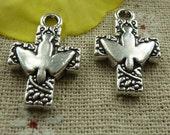 Bulk 40 Cross Charms With Dove Tibetan Silver  26 x 17 mm U.S Seller - ts949