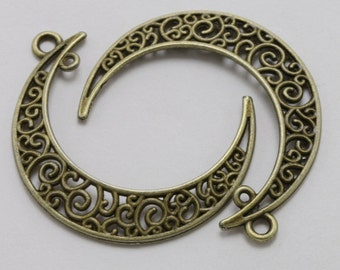 Crescent Moon Charms Antique Bronze Filigree Dangle Connector 40 x 33 mm U.S Seller - bz337