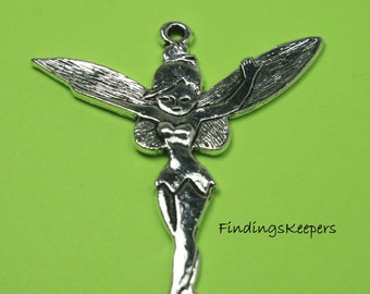 1 Tinkerbell Fairy Charm, Antique Silver 52 x 46 mm - sc296