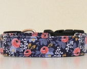 Blue Pink Floral Dog Collar Le Fleur Wedding Accessories Spring Summer Collar Made to Order