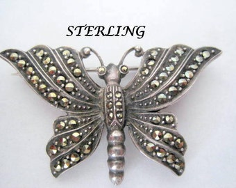 Sterling Marcasite Brooch Butterfly 925 Pin