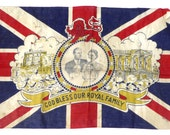 1953 Coronation of Queen Elizabeth II Flag Vintage Royalty God Bless Our Royal Family Queens Coronation Royal Souvenir Antique Flag