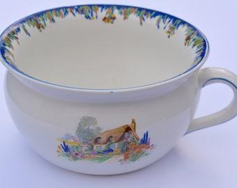 1930s English Thatched Cottage Planter Art Deco Chamber Pot Vintage Potty Vintage Planter Vintage Gazunder Vintage Home Decor Housewares