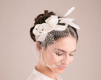 Bridal fascinator with petite birdcage, wedding millinery hairpiece, feather headpiece