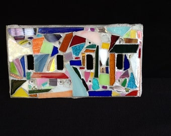 4 toggle Lightswitch Plate Cover, Stained Glass Mosaic , one of a kind, Home Decor, Unique gift idea, Housewarming