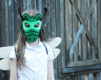Green Emerald Dragonfly Costume - Mask, Wings, & Combo Pack