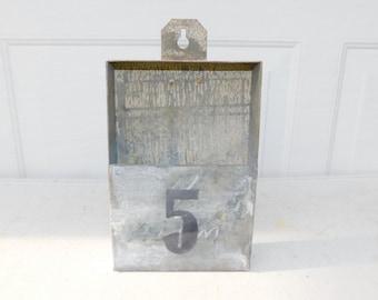 Vintage Industrial Metal Wall Bin # 5 Box Metal Storage Metal Decor