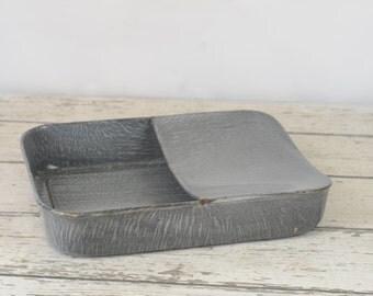 Vintage Chamber Pot Bed Pan Fracture Pan Grey Speckled Graniteware Enamelware