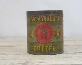 Antique 1902 Coffee Tin Chase and Sanborns Coffee Original Label
