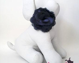 Black Satin Flower Collar Accessory