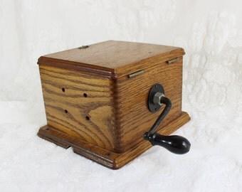 Antique Crank Phone Box with hinged lid- heavy oak box- dovetail corners- original crank- repurposed box- Early 20th Century