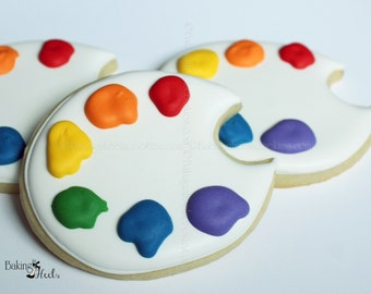 Artist Paint Palette Decorated Cookies, Decorated Cookies, Cookie Favors, Artist Cookies, Paint Cookies, Artist, Birthday Cookies, 1 dozen,
