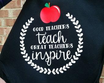 Good teachers teach Great teachers inspire Market Book Tote Bag Black Teacher gift