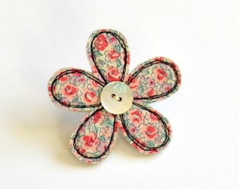 Pink and green  fabric flower BROOCH, Flower badge, Flower pin, Fabric flower, Applique flower, Textile flower brooch, flower pinback