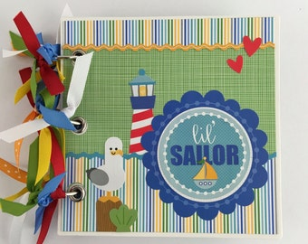 "Pre-made Scrapbook Mini Album Album 6x6"" Little Sailor Baby Boy Toddler"