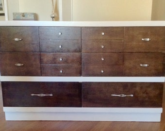 White and Stained Mid Century Modern Dresser, Chest of Drawer, Credenza