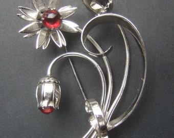 1950s Stylized Silver Metal Flower Brooch