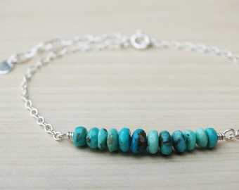 Turquoise & Silver Bracelet - Sterling Silver