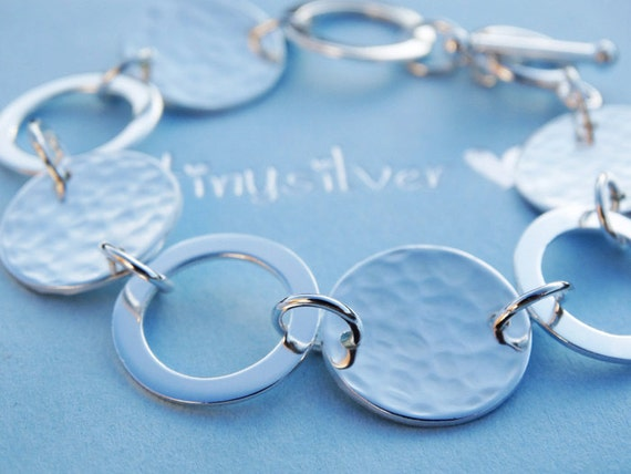 Silver Circle Link Bracelet - Hammered - Sterling Silver