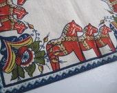 Vintage Froso Handtryck Linen Dala Horse Table Runner Made in Sweden