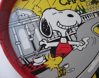Vintage Snoopy's Cafe Round Tin Tray Made in Enlgand