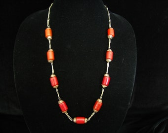 "Tribal Style 27-3/4"" Silver Link and Brick Red Color Bead Necklace with Stylized Silver over Copper Bead Caps.  Artisan Vintage Piece."