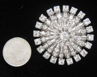 """SALE Large Rhinestone Starburst Vintage Brooch. 5 Layers. Almost 2"""" W.  Dazzling Clear Stones. Brilliant Silver Tone Foundation. Mid Century"""