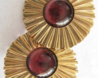 CLEARANCE Large Ribbed Round Earrings with Cabochon Centers in a Ruby/Amethyst Shade.  Very Mid Century Look.