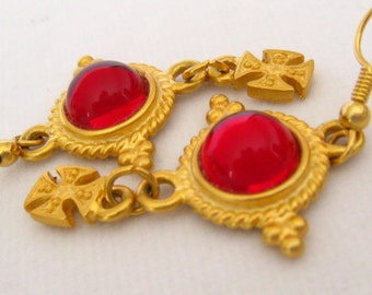 "Matte Gold 2-Tier Cabochon Drop Earrings have Red Cabs in Detailed Setting on Top & Maltese Cross Drops Below.  2-3/16"" L."