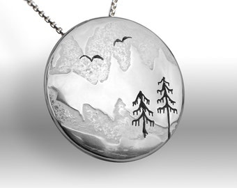 Mountain Thaw Pendant, Silver Pendant, Silver Jewellery, Silver jewelry, melting snow.