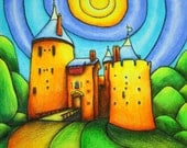 Castle Coch Sun art print A4 from Original Drawing by Gayle Rogers Made in Wales