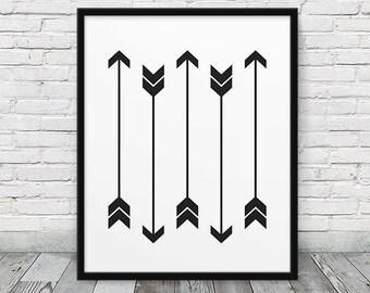 Arrows Print. Chevron Arrows Print Black & White Art Abstract Geometric Print. Minimalist Modern Wall Art Home Office Decor. Printable Art