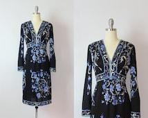 vintage 60s EMILIO PUCCI dress / 1960s silk jersey graphic print dress / black purple floral dress / designer dress / dark floral dress
