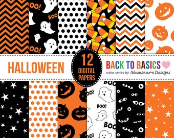 Cute Halloween Digital Paper Sale: Halloween Scrapbook Paper for digital scrapbooking and digital backgrounds. Pumpkin, ghost, & chevron