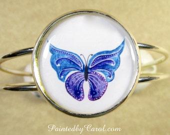 Butterfly Bracelet, Butterfly Jewelry, Purple Butterfly Cuff, Butterfly Gifts, Butterfly Lover Gifts, Bracelet with Butterfly