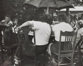 Original Vintage Photograph Outdoor Eating