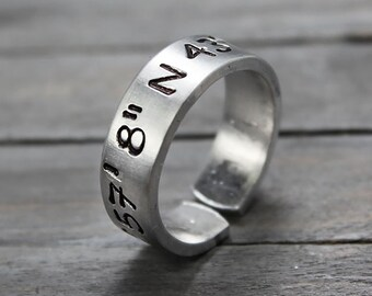 Latitude Longitude Ring, Custom Coordinates, Coordinate Ring, Longitude Latitude, Personalized Ring, Personalized Jewelry, hand Stamped