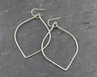 Large Silver Hoop Earrings - Petal Shaped Large Sterling Silver Hoops - Unique Shaped Big Silver Hoops - Not Round .925 Silver Hoops GG