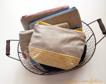 Cotton and linen zipper pouch, little cosmetic case - Mustard leaves, organic
