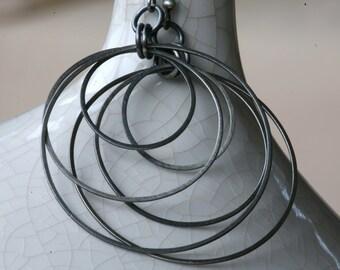 "Rustic Sterling Silver Tribal Style Large Three Hoop Drop Earrings in Antique Silver ""Gunmetal"" Patina"