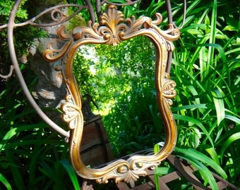 Mirror, Gold Mirror, Decoline Mirror, Provincial Mirror, Hollywood Regency, Fleur Dis Lis, Syroco, Regency, Rococo Mirror, Ornate Gold Decor