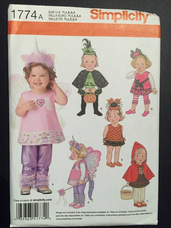 Simplicity Sewing Pattern 1774 Children's Princess, Witch, Red Riding Hood, Fairy and Angel Costume Size 1/2-4