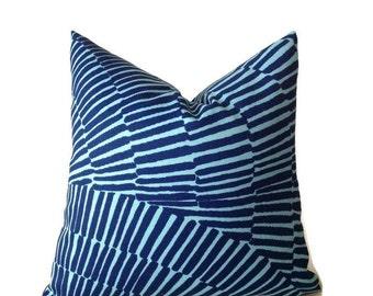 Trina Turk Pillow, Schumacher Pillow, Decorative Throw Pillow Cover  indoor- outdoor pillow, Blue  Outdoor Pillow