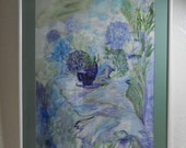 Floral Watercolor, Lavender Blue Hydrangeas, Free Shipping, Impressionism, Blues Lavenders, Full Frame, Kathleen Leasure From Glen To Glen