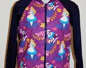 Alice in Wonderland print ladies bomber style jacket/top