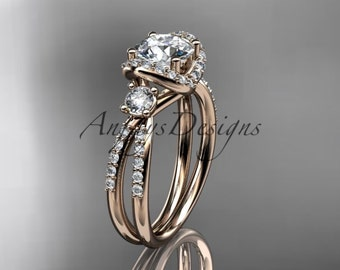 """14kt rose gold diamond unique engagement ring, wedding ring with a """"Forever One"""" Moissanite center stone ADER146"""