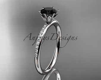 14kt white gold diamond unique engagement ring, wedding ring with a Black Diamond center stone ADER145