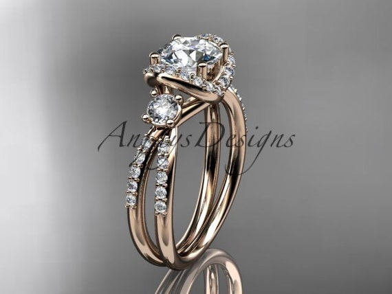 "14kt rose gold diamond unique engagement ring, wedding ring with a ""Forever One"" Moissanite center stone ADER146"